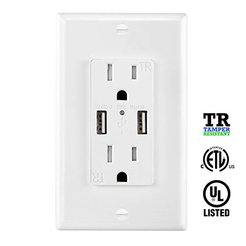 USB Outlet Charger Wall Plate 4.2A, High Speed Decora Outlet Receptacle with Dual USB Ports 15A 125V 60Hz Tamper Resistant & Free Wallplate, White