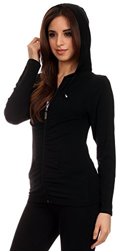 Lotus Lightweight 4-Way Stretch Hooded Active Yoga Fitness Zumba Jacket with Pokets Zip Up/One Size 2 Fashion Online Shop gifts for her gifts for him womens full figure
