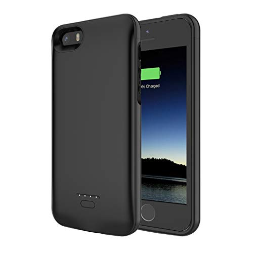 Battery Case for iPhone 5/5S/SE, SNSOU 4000mAh iPhone SE Battery Charging Case for iPhone 5 SE 5S Magnetic Charger Case Protective Backup Power Case Cover for iPhone 5/5s/se -Black [Not fit 5C Model]