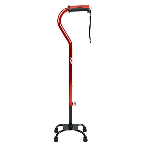 Vive Adjustable Quad Cane - Lightweight Walking Stick for Men & Women - Walking Staff Can Be Used By Right- or Left-Handed Individuals - Fashionable & Sturdy (Red)