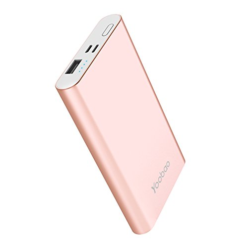 Portable Charger Yoobao Power Bank Lightning & Micro Input 8000mAh Slim Powerbank External Cellphone Battery Backup Pack Compatible iPhone X 8 7 6 Plus Android Smartphone Samsung Galaxy etc- Rose Gold