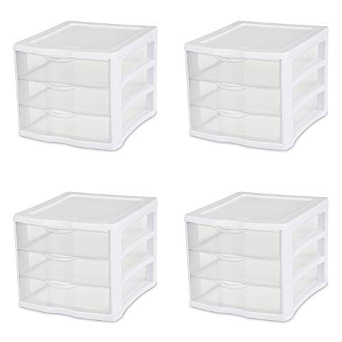 Sterilite 17918004 3 Drawer Unit, White Frame with Clear Drawers, 4-Pack