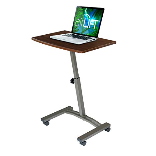Seville Classics WEB162 Mobile Laptop Computer Desk Cart Height-Adjustable from 20.5' to 33', Slim, Walnut