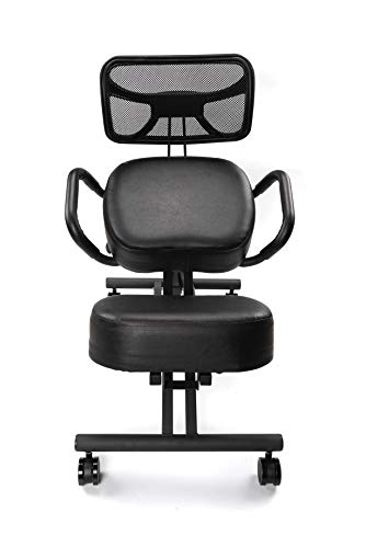 Chair Monk - Ergonomic Kneeling Chair - Kneeling Chair with Thick Comfortable Memory Foam Cushion - Adjustable Work Chair - Kneeling Stool with Angled Posture and Kneeling Pad - Includes Back Support
