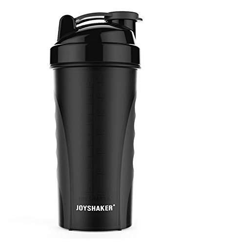 Joyshaker Shaker Bottle for Protein Mixes, Leak Proof Guarantee BPA and Phthalate-Free Plastic Wide Mouth Gyms Sports Shaker Cup with Mixer 28oz (Black)