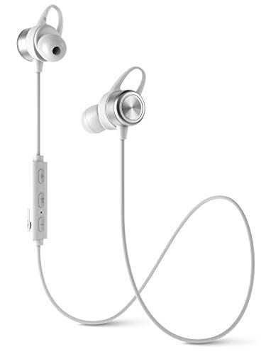 Diginex Bluetooth Earbuds Wireless Magnetic Headset Sport Earphones for Running IPX7 Waterproof Headphones 9 Hours Playtime High Fidelity Stereo Sound and Noise Cancelling Mic 1 Hour Recharge – White