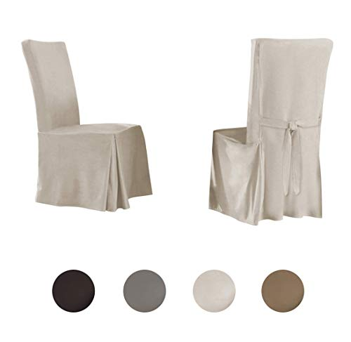 Serta | Relaxed Fit Smooth Suede Furniture Slipcover for Dining Room Chair (Set of 2), Long Skirt (Ivory)