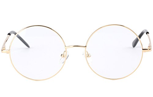 Agstum Retro Small Round Prescription ready Metal Large Eyeglasses Frame Clear Lens (Gold, (Large size) 49)