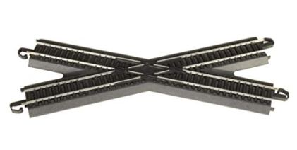 Bachmann-Trains-Snap-Fit-E-Z-TRACK-30-DEGREE-CROSSING-1card-STEEL-ALLOY-Rail-With-Black-Roadbed-HO-Scale