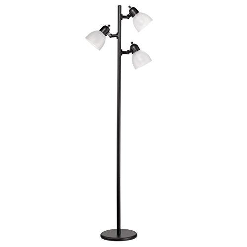 Novogratz x Globe 63' 3-Light LED Floor Lamp, Matte Black, Frosted Plastic Shades, LED Bulbs Included 12719