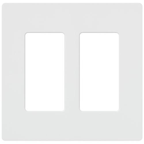Lutron Claro 2 Gang Decorator Wallplate, CW-2-WH, White