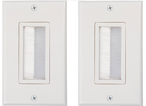 Buyer's Point Brush Wall Plate [UL Listed], Decora Style, Cable Pass Through Insert for Wires, Single Gang Cable Access Strap, Wall Socket for HDTV, HDMI, Home Theater Systems (2 Pack, White)