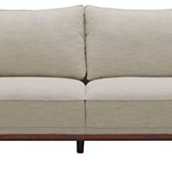 Amazon Brand – Stone & Beam Hillman Mid-Century Sofa with Tapered Legs and Removable Cushions, 78″W, Ivory