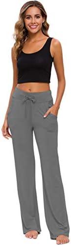 Womens Yoga Pants with Pockets Straight-Leg Loose Comfy Modal Drawstring Lounge Running Long Active Casual Sweatpants 7
