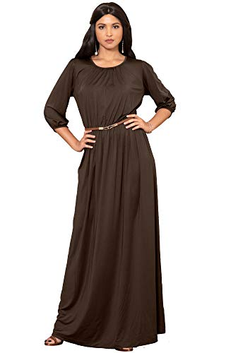 61qqGesbNbL PLUS SIZE - This great maxi dress design is also available in plus sizes STYLE - Comfortable and well-fitted 3/4 long sleeved maxi dresses that can be dressed up or down to suit your mood OCCASION - Perfect casual maxi dresses with 3/4 sleeves or understated chic long sleeved gowns