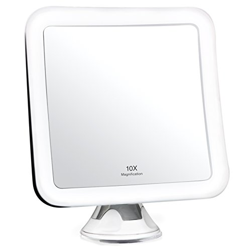 Fancii 10X Magnifying Lighted Makeup Mirror - Daylight LED Vanity Mirror - Compact, Cordless, Locking Suction, 6.5' Wide, 360 Rotation, Portable Illuminated Bathroom Mirror (Square)
