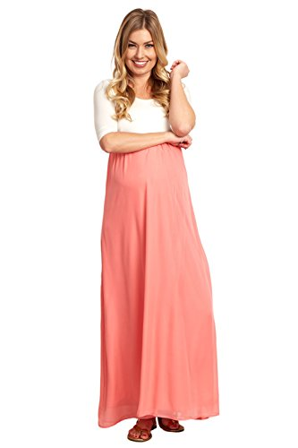c5c1853f751cf PinkBlush Maternity Chiffon Colorblock Maxi Dress - Only Maternity