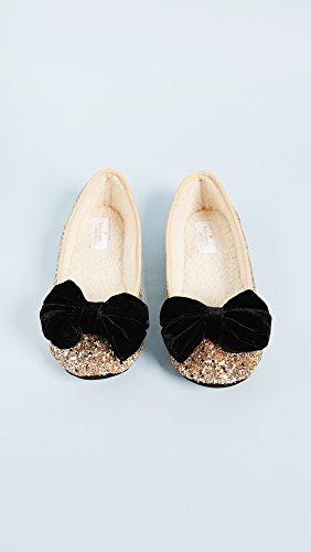 3137OYYc3SL Dazzling glitter ballet slippers add a sparkling flair Faux velvet bow for a touch of charm Plush synthetic sherpa lining and soft sole