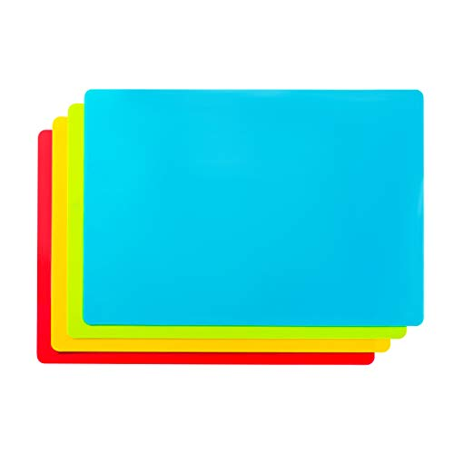 Bellemain Set of 4 Flexible Non-Skid 15' x 11' Cutting Board Mats with Food Color Codes