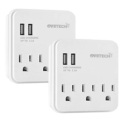 Multi USB Outlet Surge Protector Wall Mount Adapter and Dual 2.1A USB Charging Ports, OviiTech Socket Outlet Adapter Plug-in Splitter/ETL Listed/White/2 Pack