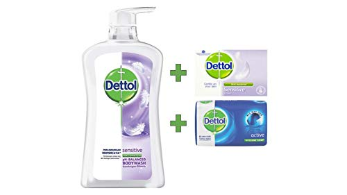 Dettol Anti Bacterial pH-Balanced Body Wash, Sensitive, 21.1 Oz / 625 Ml (Pack of 2)