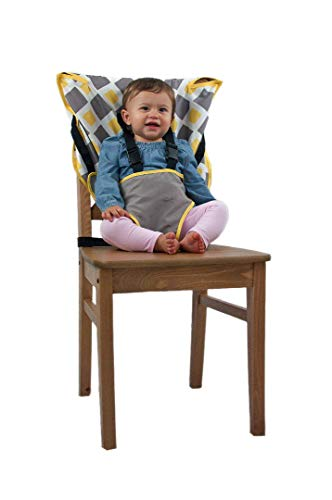 Cozy Cover Easy Seat Portable High Chair (Charcoal w/Yellow) - Quick, Easy, Convenient Cloth Travel High Chair Fits in Your Hand Bag for a Happier, Safer Infant/Toddler