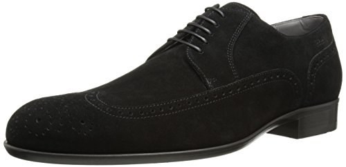 Suede calf leather Wing tip with brogue detail