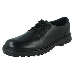 Clarks Boys Smart Lace Up School Shoes Asher Jazz – Black Leather – UK Size 8H – EU Size 42 – US Size 8.5XW 315G9iM2STL