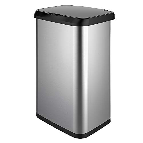 GLAD GLD-74514 Extra Capacity Stainless Steel Sensor Trash Can with Clorox Odor Protection of The Lid | Fits Kitchen Pro 20 Gallon Waste Bags