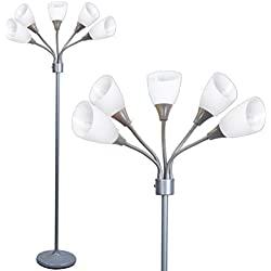 Floor Lamp by Light Accents - Medusa 5 Light Standing Lamp - Multi Head Standing Lamp with 5 Adjustable White Acrylic Reading Lamps - Lamps for Living Room