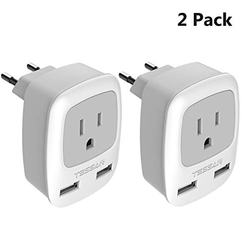 European Plug Adapter 2 Pack, TESSAN International Travel Power Outlet Adaptor with 2 USB - USA to Most of Europe EU Spain Iceland Italy (Type C)
