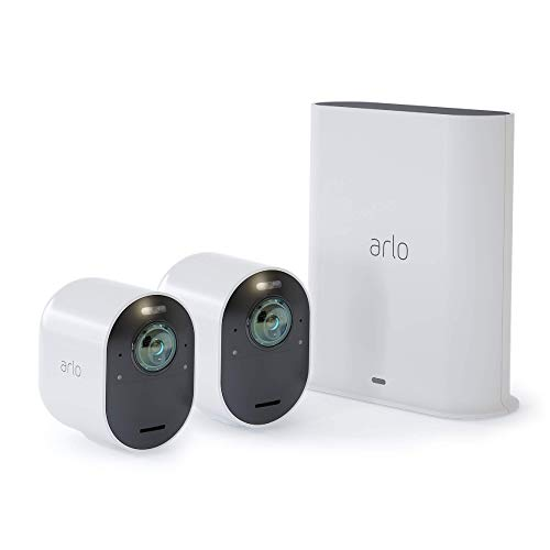 Arlo-Ultra-4K-UHD-Wire-Free-Security-2-Camera-System-IndoorOutdoor-with-Color-Night-Vision-180-View-2-Way-Audio-Spotlight-Siren-Compatible-with-Alexa-and-HomeKit-VMS5240-Renewed