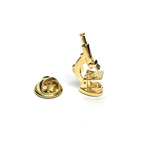 Gold Plated Microscope Science Lapel Pin Badge