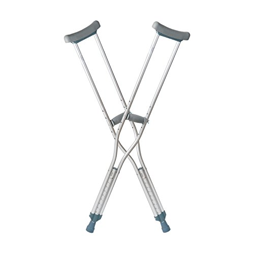 DMI Crutches, Push Button Adjustable Crutches, Aluminum Crutches with Pads, Tips, and Handgrips Accessories, Adult 5 Foot 2 to 5 Foot 10, Silver and Gray