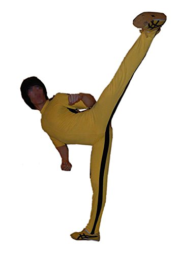 Classical Yellow Jumpsuit Bodysuit Costume for Halloween Cosplay Unisex Black Striped Custom Made