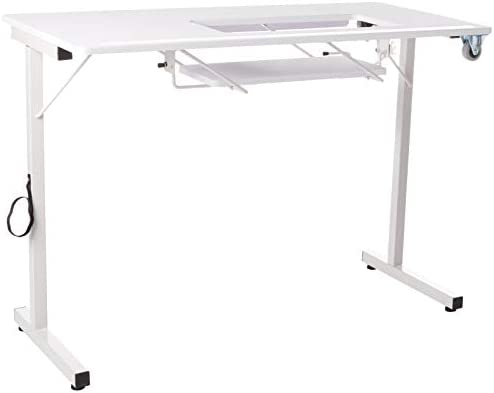 SewStation 101 Portable Folding Sewing Table with Steel Legs by SewingRite, White – Perfect for Home, Office and Business