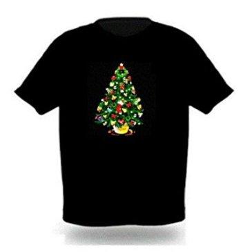 Stylish Sound Activated LED Christmas Tree T-shirt Size Xl