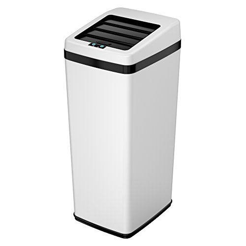 iTouchless 14 Gallon Sliding Lid Automatic Sensor Trash Can with Odor Filter System, 52 Liter White Steel Touchless Kitchen Garbage Bin