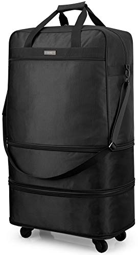 Hanke Expandable Foldable Suitcase Luggage Rolling Travel Bag Duffel Tote Bag for Men Women Lightweight Carry-on Suitcase Large Capacity Luggage with Universal Wheel(Black)