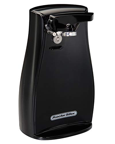 Proctor Silex Power Electric Can Opener with Cord Storage, Knife Sharpener, Automatic Shutoff and Twist-Off Easy Clean Lever, Black (75217F),