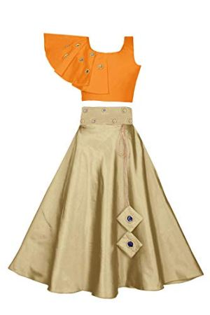 Fashion Dream Girls' Cotton & Silk Mirror Embellished Readymade Lehenga Choli