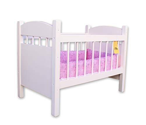 Amish-Made Wooden Deluxe Doll Crib, White Finish
