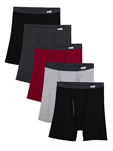 Fruit of the Loom Men's No No Ride Up Boxer Brief, Assorted Ringer (5-Pack), Large