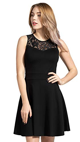 Sylvestidoso Women's A-Line Pleated Sleeveless Little Cocktail Party Dress with Floral Lace 1 Fashion Online Shop Gifts for her Gifts for him womens full figure