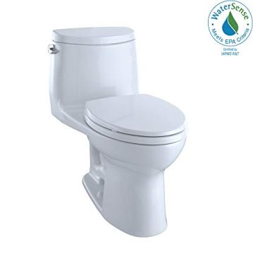 Toto MS604114CEFG#01 UltraMax II One-Piece Elongated 1.28 GPF Universal Height Toilet with CEFIONTECT, Cotton White