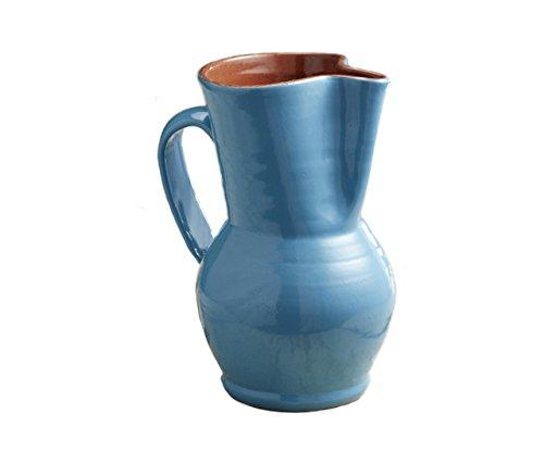 Mediterranean Blue Terra Cotta Sangria Pitcher - 1.5 liter/1.58 quart
