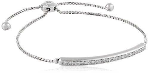 319X5k7RUHL Adjustable box-chain bracelet featuring curved bar inset embellished with shared-prong round diamonds All our diamond suppliers confirm that they comply with the Kimberley Process to ensure that their diamonds are conflict free Carat weight listed is the total for all stones.
