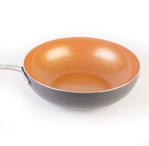FlaminN-Go-11-Copper-Wok-Set-Ceramic-Non-Stick-Coating-PFOA-Free-With-Glass-Lid-And-Basket