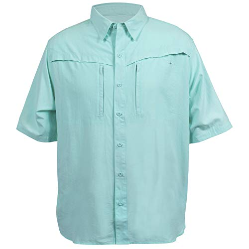 HABIT Men's Short Sleeve Travel Shirt, Aruba Blue, Large