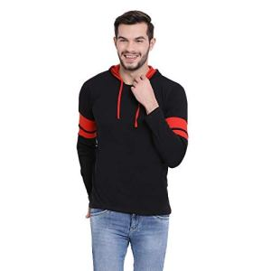 VIMAL JONNEY Cotton Black Full Sleeve Hoodie Tshirt for Men-T_12_BLK01-P